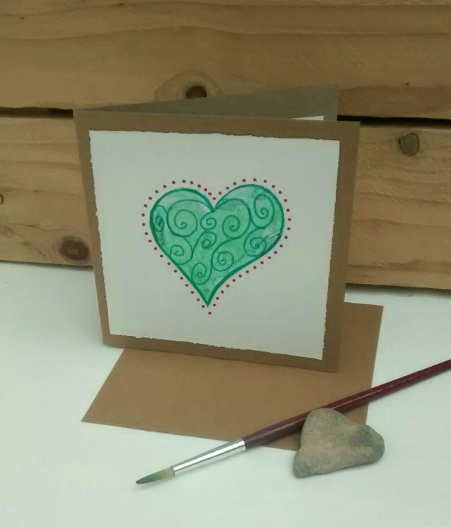 Heart Greetings Card, Anniversary Card, Handmade Card