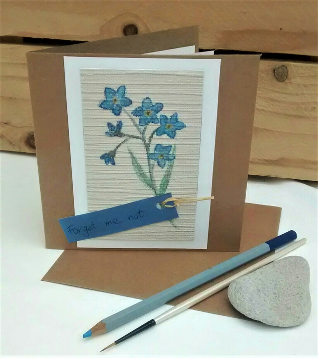 Greetings Card, Notelet, Forget me not, Handpainted Upcycled Card