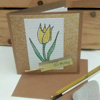 Birthday Card, Tulip, Handmade, Eco Friendly Upcycled Card