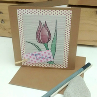 Birthday Card, Tulip, Handpainted, Upcycled Card