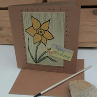 Birthday Card, Daffodils, Handmade Eco Friendly Upcycled Card