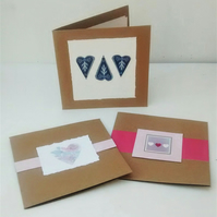 Pack of 3 Recycled Cards, Handmade Cards