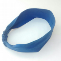 Hair Band, Blue Cotton Headband for Women