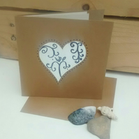 25th Wedding Anniversary Card, Silver Heart