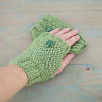 Fingerless Gloves, Fern Green