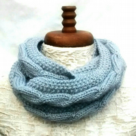 Cable Knit Cowl, Silver Grey Aran Snood