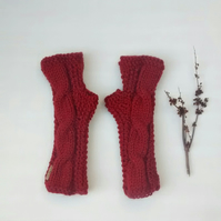 Russet Fingerless Gloves, Cable Knit Wrist Warmers