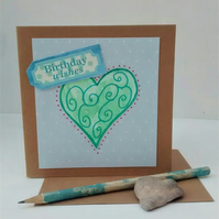 Birthday Card, Heart, Handmade Card