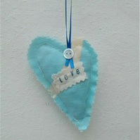 Blue Fabric Heart, Love, Hanging Decoration, Gift Tag