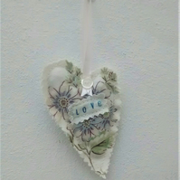 Floral Fabric Heart, Love, Hanging Decoration, Gift Tag