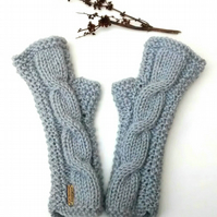 Fingerless Gloves in Grey Aran, Ladies Wrist Warmers