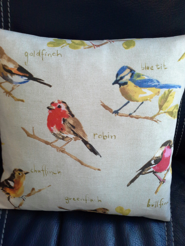 English garden birds cushion.