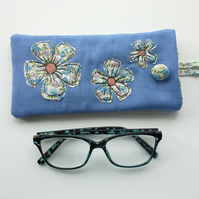 Glasses Case, Blue Floral soft Spectacle case, Sunglasses Case