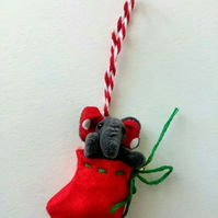 Unloved Teeny Christmas Elephant, Grey