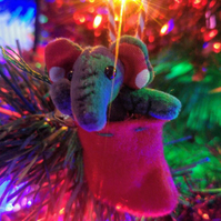 Christmas Unloved Teeny Elephant, Harry Grey in Stocking