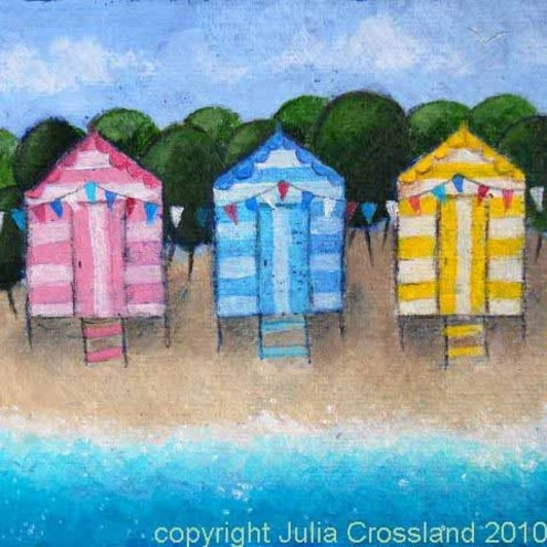 Beach Huts & Bunting Original Painting