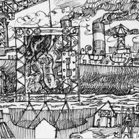 "ACEO black and white print of an original drawing, ""Sea Trial """