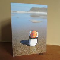 Puffin on North Bay, Scarborough - Greetings Card