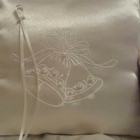 Embroidered wedding ring cushion - bridal pillow