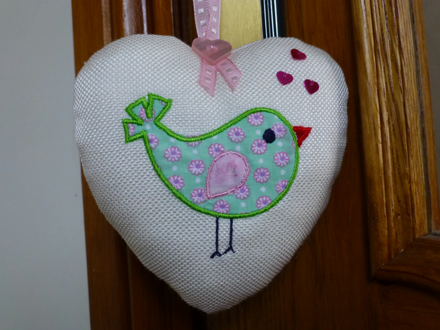 Bird Heart decoration - embroidered appliqued door hanger