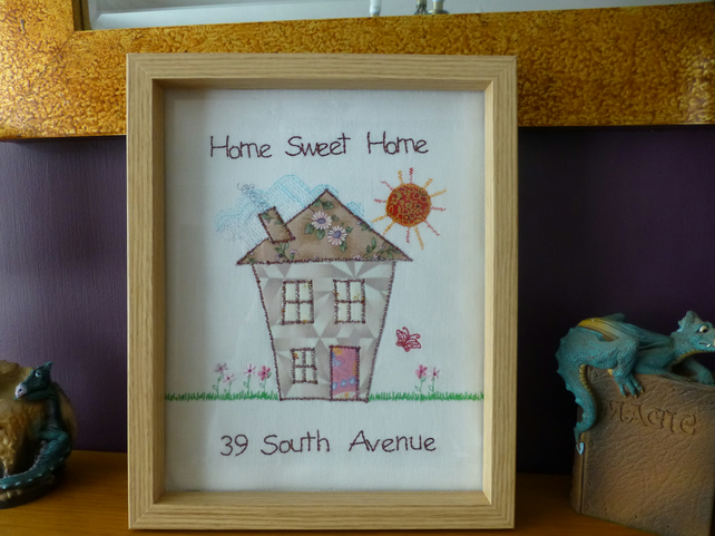 Personalised Home Sweet Home embroidered picture