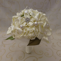Bridal Bouquet - cream wedding boquet satin flowers