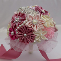 Bridal Bouquet  pink wedding brooch bouquet