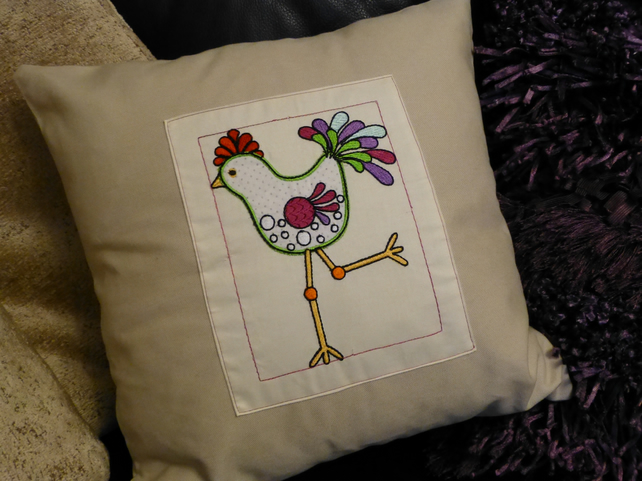 cushion cover embroidered funky chicken