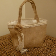 Flower girl bag - burlap hessian