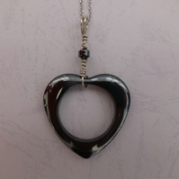 Haematite Heart Necklace Sterling Silver