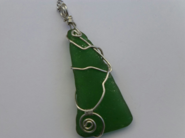 Sterling Silver Wire Wrapped Sea Glass