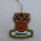 Personalised reindeer christmas tag ornament