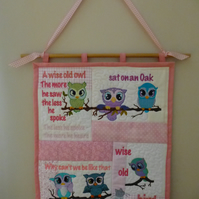 Owl poem Wall hanging - patchwork and machine embroidered