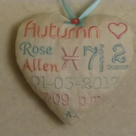 Personalised baby keepsake - fabric heart