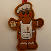 gingerbread man - christmas decoration - embroidered baker