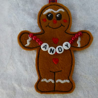 gingerbread boy - personalised Christmas tree decoration