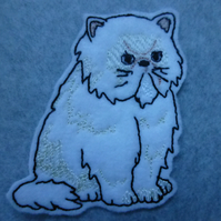 iron on patch - big fat grumpt cat - persian cat