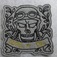 iron on patch - skull biker
