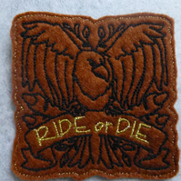 Iron on biker patch - ride or die - eagle