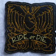 iron on patch - biker - ride or die - eagle - embelishment