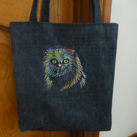 Tote bag for cat lover embroidered