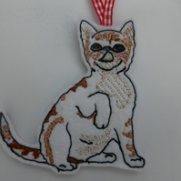 Ginger and white tabby cat Christmas tree decoration
