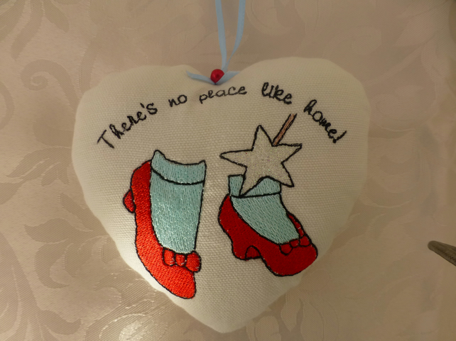 There's no place like home hanging heart embroidered house warming gift