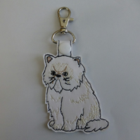 fat grumpy cat bag charm - key ring - bag tag embroidered cat lover gift