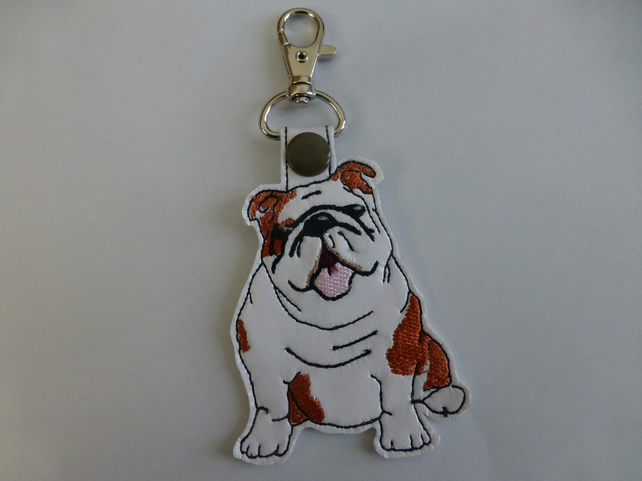 bull dog embroidered bag charm - key ring - bag tag