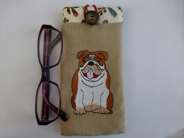 Bull dog embroidered glasses case   spectacle case for dog lover