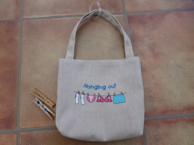 embroidered peg bag - hanging out washing - laundry
