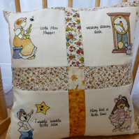 Patchwork embroidered nursery rhyme cushion cover