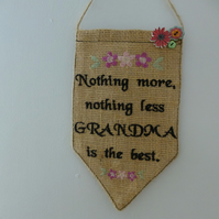Embroidered grandma wall hanging - gift