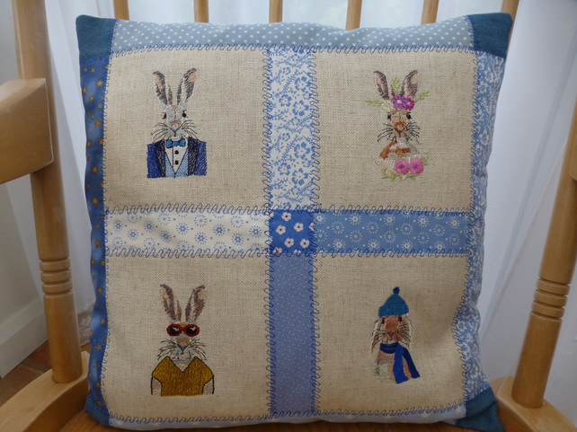 Embroidered patchwork cushion cover hipster hares